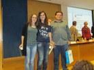 Menció: Laura Pérez i Laura Rubio i el tutor Joan Alberich, de l'Institut Frederic Mompou de Sant Vicenç dels Horts