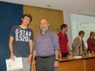 Menció: Xavier Jarque i el tutor Antoni Vila de l'Institut Gabril Ferrater i Soler de Reus