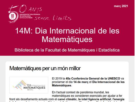 Butlletí especial 14M de la Biblioteca FME sobre el Dia Internacional de les Matemàtiques