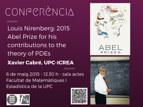 Conferència del professor Xavier Cabré:  Louis Nirenberg, 2015 Abel Prize for his contributions to the theory of PDEs