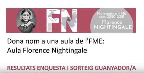 """Ja tenim resultat de l'enquesta i guanyador/a del sorteig """" Aula Florence Nightingale a l'FME""""!"""