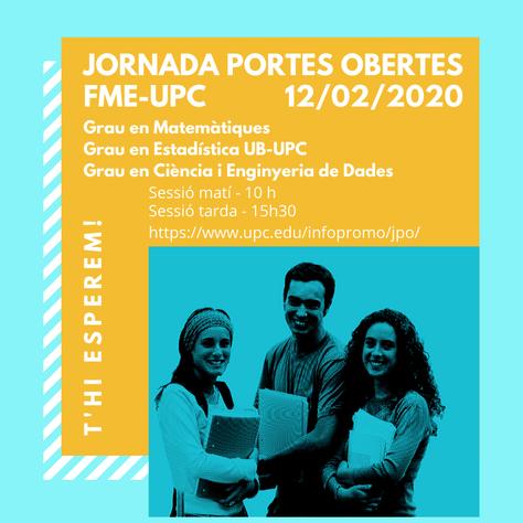 Jornada de Portes Obertes FME-UPC 2020: Et convidem a canviar el món amb la UPC!
