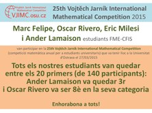 Nou èxit dels estudiants FME-CFIS a la 25th Vojtech Jarník International Mathematical Competition