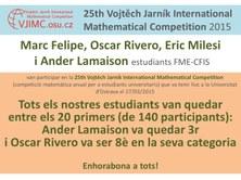 Nou èxit dels estudiants FME-CFIS a la 25th Vojtech Jarník International Mathematical Competition