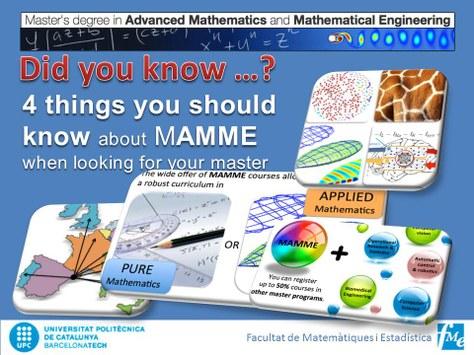 Nou web, nova imatge del Màster en Matemàtica Avançada MAMME de l'FME